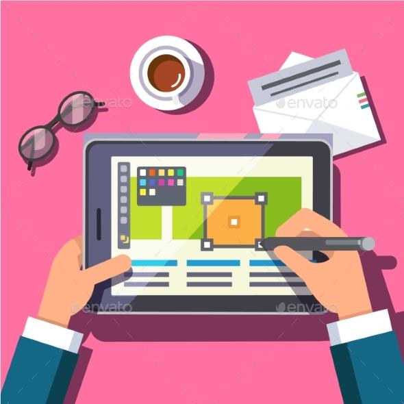 Designer Working on a Tablet Computer - Web Technology