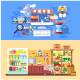 Flat Concept Supermarket and E-Commerce - GraphicRiver Item for Sale