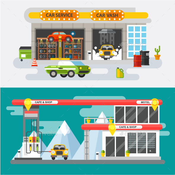 Flat Concept Car Service and Gas Station - Miscellaneous Vectors