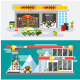 Flat Concept Car Service and Gas Station - GraphicRiver Item for Sale