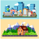 Flat Concept City and Forest Skyline - GraphicRiver Item for Sale