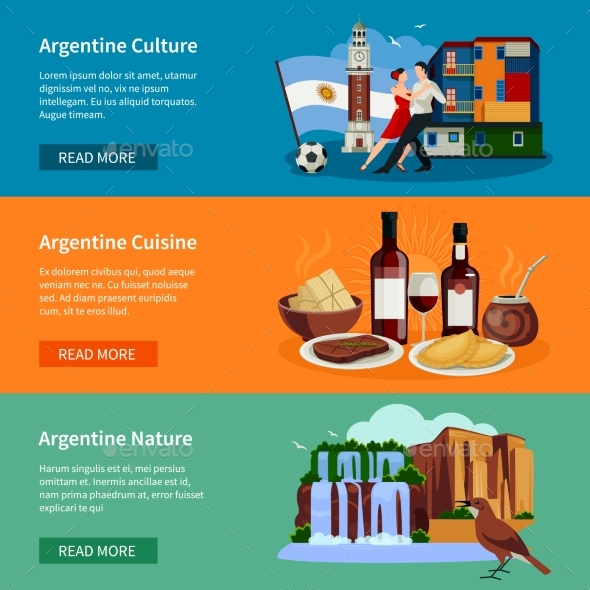 Touristic Argentina Flat Banners Website Page - Travel Conceptual