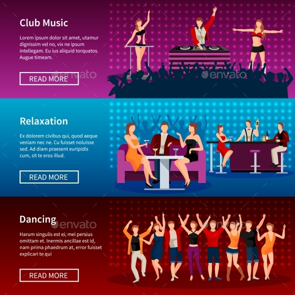 Nightlife Dance Club Flat Banners Set - Conceptual Vectors