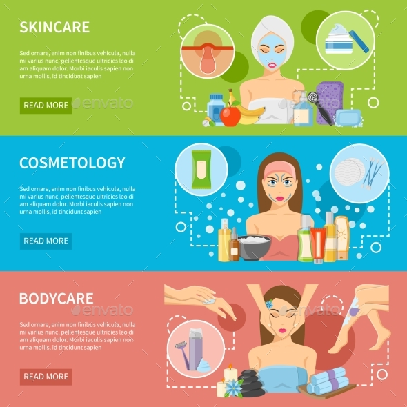 Cosmetology And Spa Procedures Horizontal Banners - Health/Medicine Conceptual