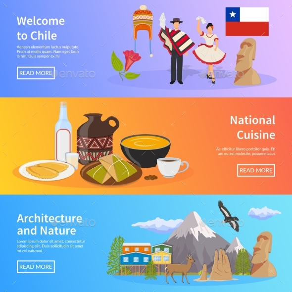 Chile Flat Horizontal Banners - Travel Conceptual