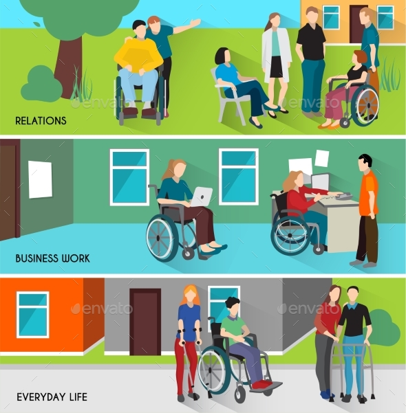 Disabled People Banners Set - People Characters