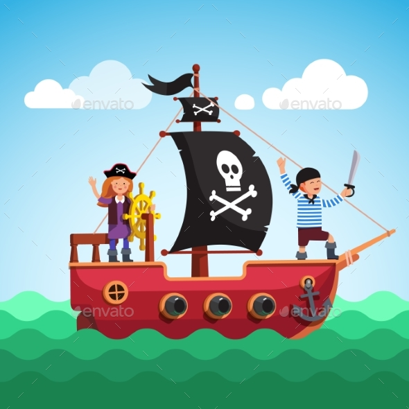 Kids Pirate Ship Sailing in the Sea with Flag - People Characters