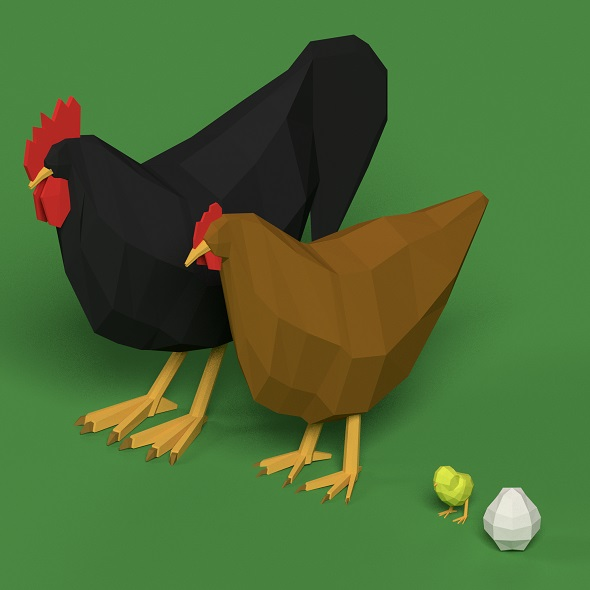Low Poly Rooster, hen, chicken, egg set - 3DOcean Item for Sale