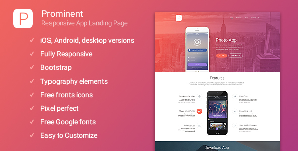 Prominent - Responsive App Landing Page - Marketing Corporate