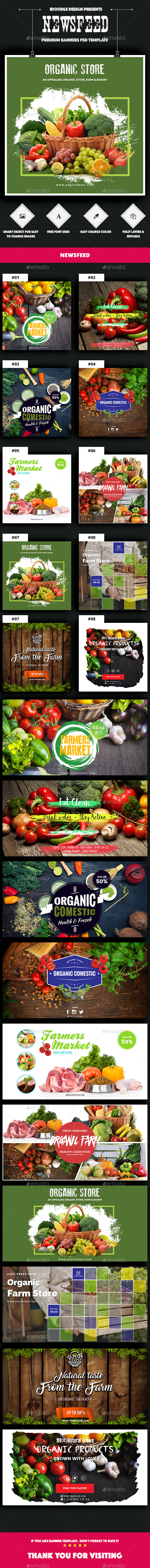 Organic Store, Farm Market, Fresh Food NewsFeed Ads - 20 PSD [02 Size Each] - Banners & Ads Web Elements