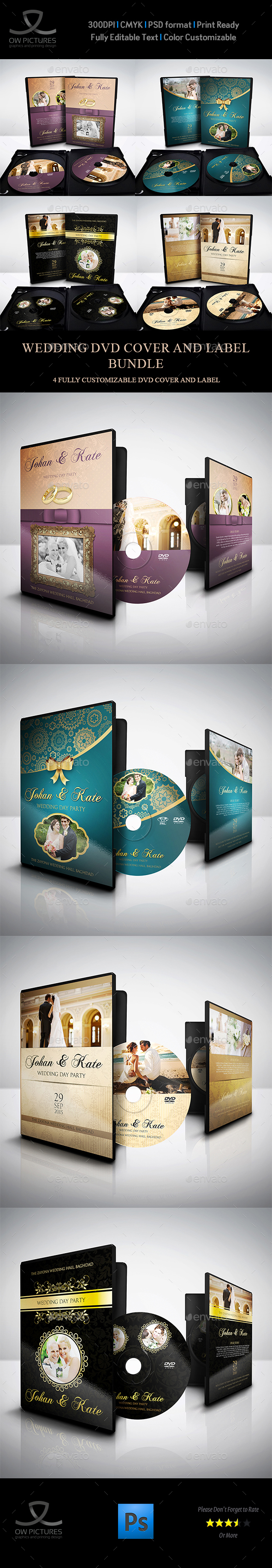 Wedding DVD Cover and Label Template Bundle Vol.1 - CD & DVD Artwork Print Templates