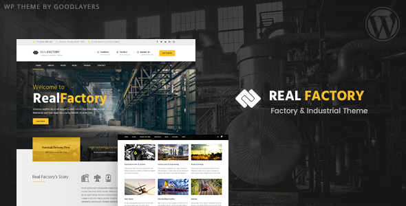 Construction WordPress Theme For Construction & Industrial Company | Real Factory