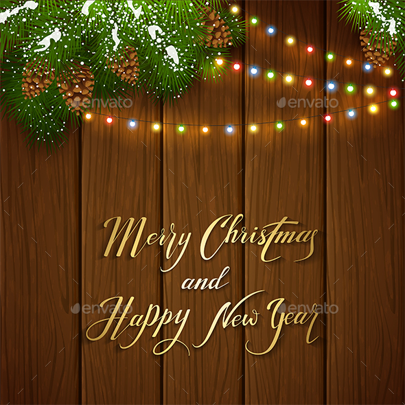 christmas lights and snowy pine branches on brown wooden background christmas seasonsholidays