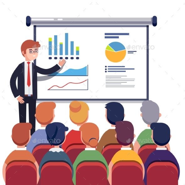Businessman Presenting Marketing Data - Concepts Business