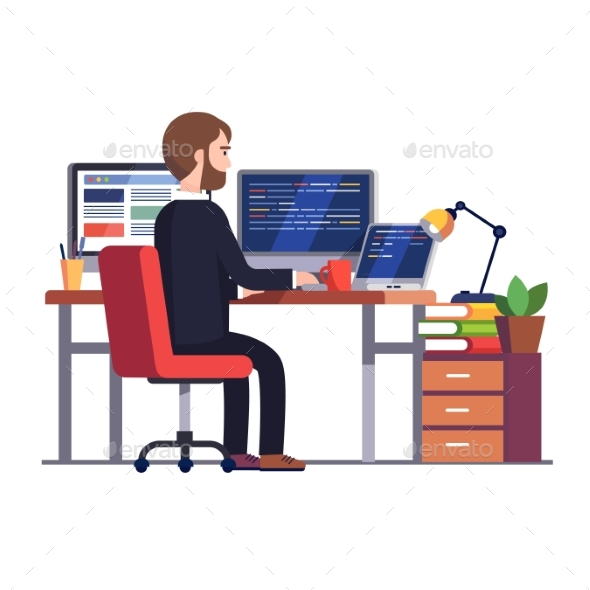 Professional Programmer Engineer Writing Code - Concepts Business