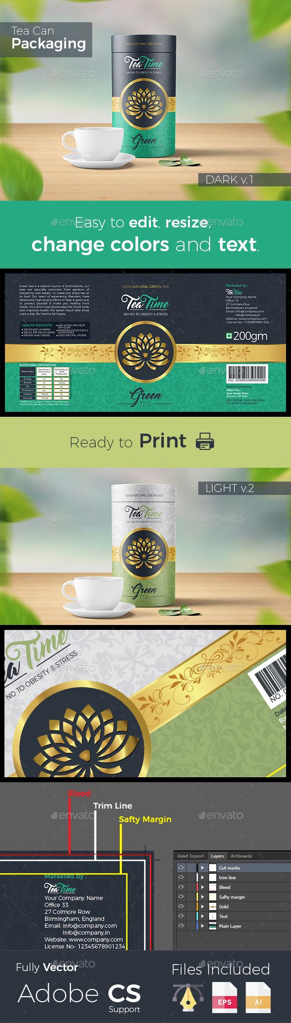 Tea Packaging label - Packaging Print Templates