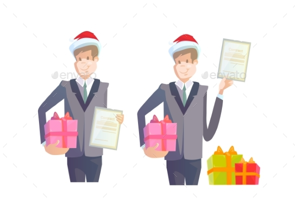 Business Man Hold Contract Gift Box Present - Concepts Business
