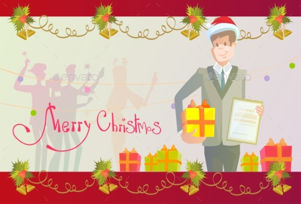 Business Man Hold Contract Gift Box New Year - Christmas Seasons/Holidays