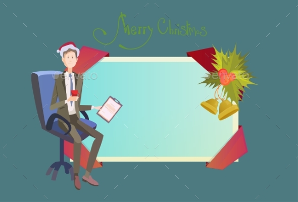 Business Man In Chair Hold Contract Celebrate - Christmas Seasons/Holidays