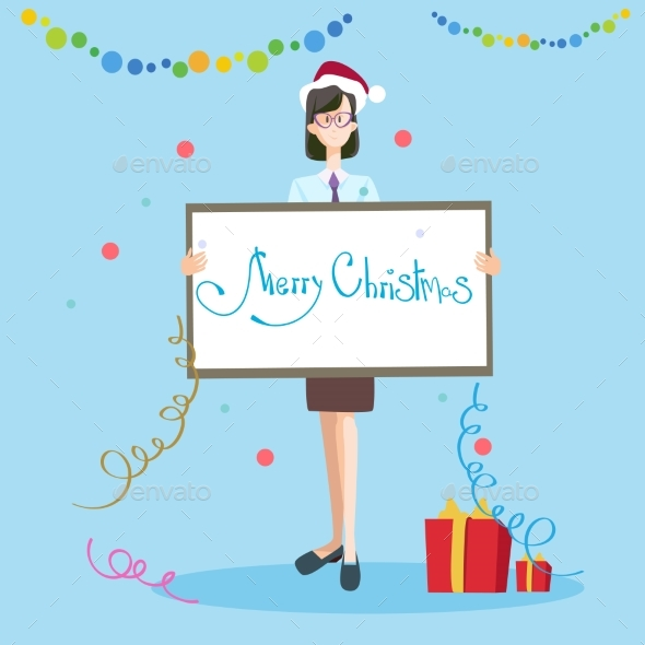 Business Woman Hold Banner Merry Christmas - Christmas Seasons/Holidays