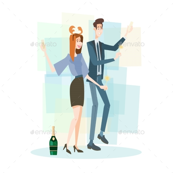 Business Couple Celebrate Merry Christmas - People Characters