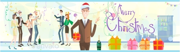 Businesspeople Celebrate Merry Christmas And Happy - People Characters
