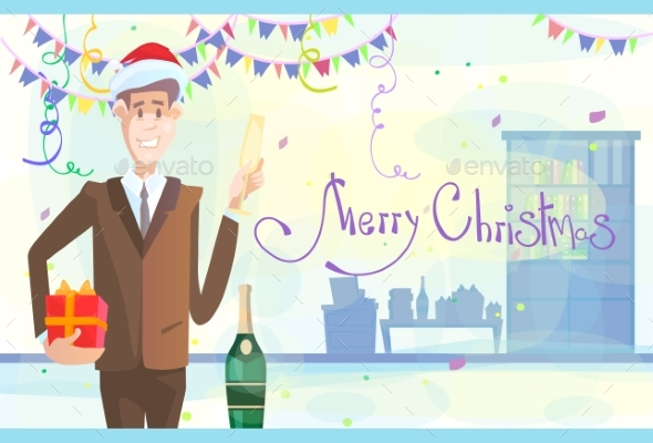 Business Man Celebrate Merry Christmas And Happy - Christmas Seasons/Holidays