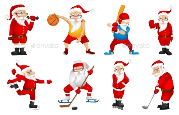 Vector Set for Christmas with Santa Claus. - Christmas Seasons/Holidays