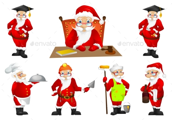 Vector Set for Christmas with Santa Claus. - Christmas Seasons/Holidays