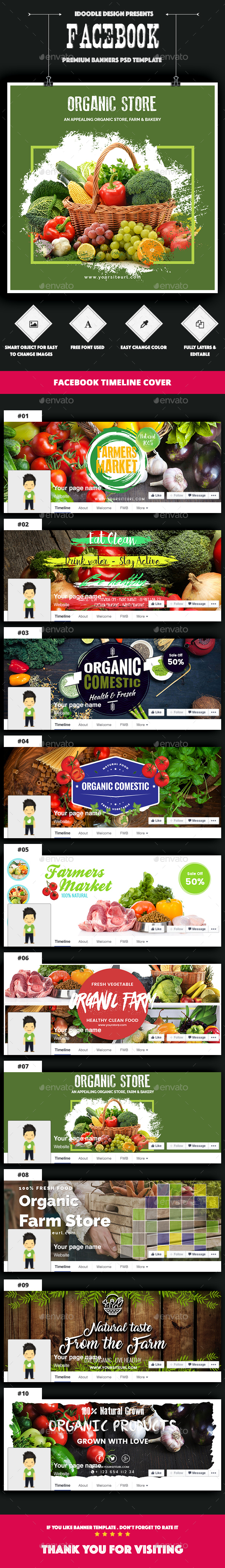 Organic Store, Farm Market, Fresh Food Facebook Covers - 10 PSD - Facebook Timeline Covers Social Media