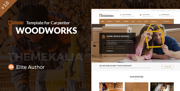 Wood Works – Renovation Services, Carpenter and Craftsman Business HTML Template