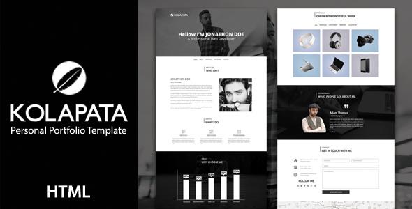 Kolapata - One Page Personal Portfolio Template - Personal Site Templates