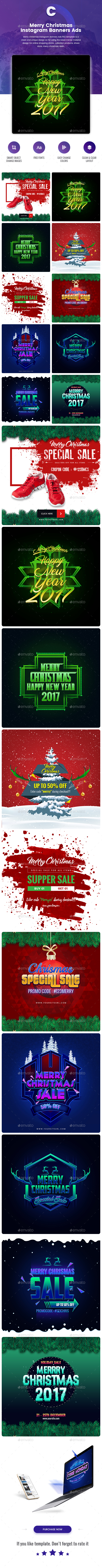 Merry Christmas Instagram Banners Ads - 10 PSD - Social Media Web Elements