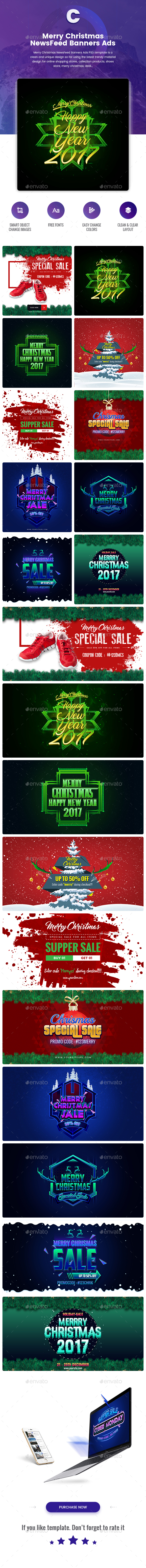 Merry Christmas NewsFeed Banners Ads - 20 PSD [02 Size Each] - Banners & Ads Web Elements