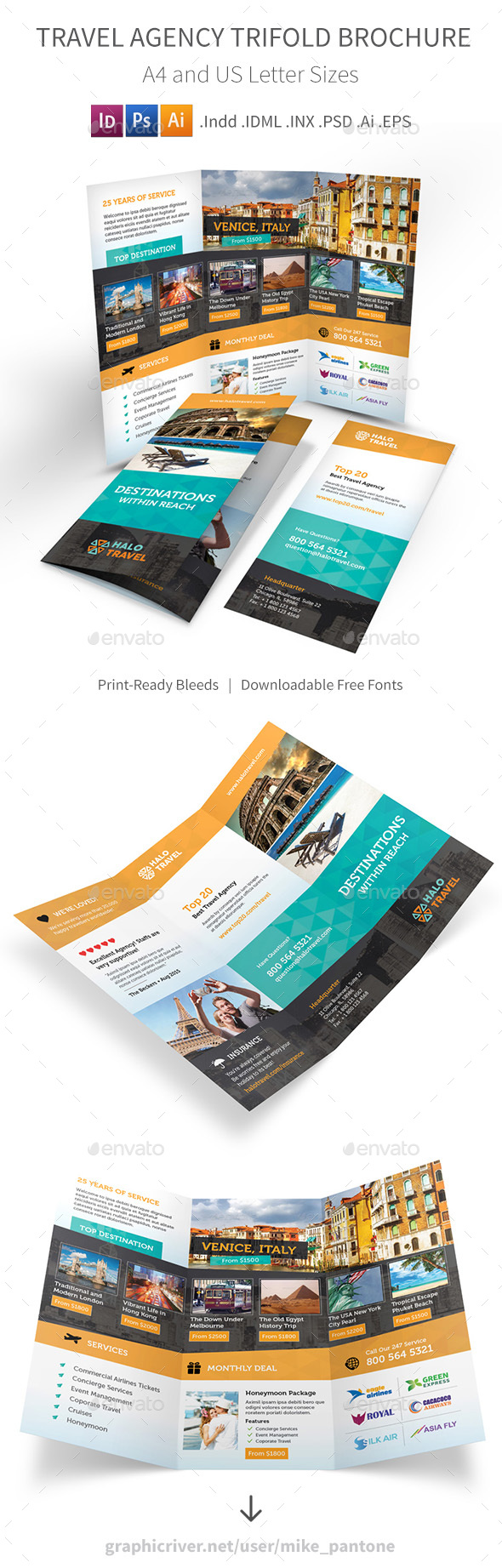 Travel Agency Trifold Brochure 2 - Informational Brochures