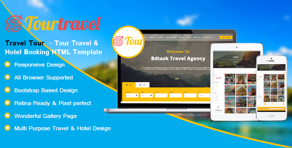 Travel Tour  – Tour Travel & Hotel Booking HTML Template