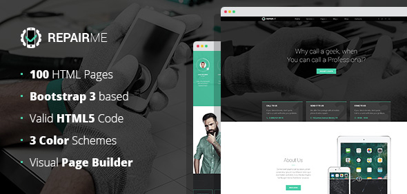 RepairMe – gadgets / home appliance repair workshop HTML template with Builder