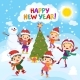 Happy New Year. 2017. Winter Fun. Cheerful Kids - GraphicRiver Item for Sale