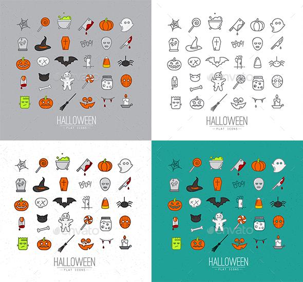 Halloween Flat Icons - Seasonal Icons