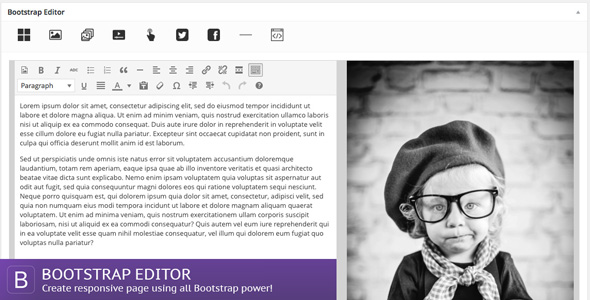 Bootstrap Editor - Responsive page builder for Wordpress - CodeCanyon Item for Sale