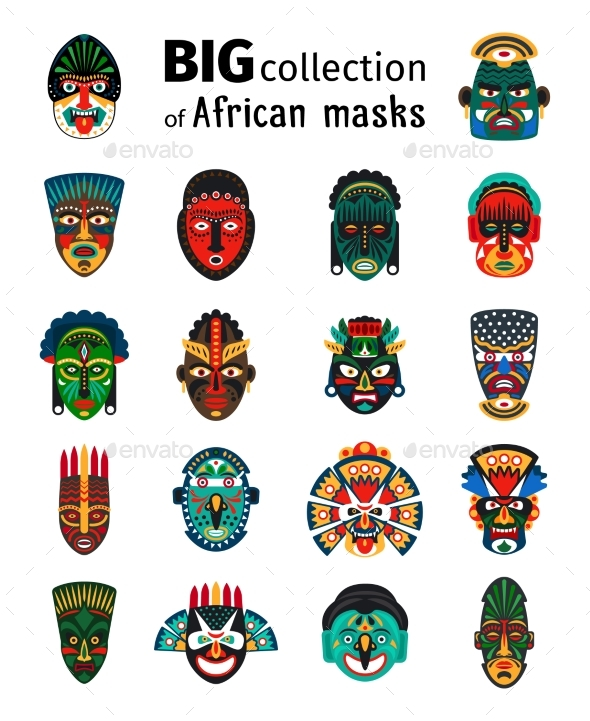 Tribal African Masks Set - Miscellaneous Conceptual