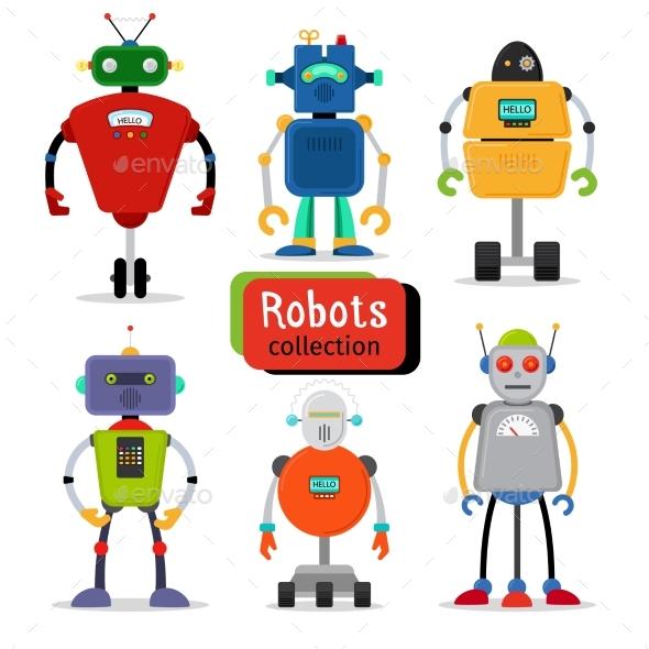 Cute Cartoon Robots Set - Characters Vectors