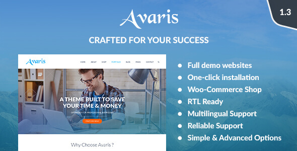 Avaris - Responsive WordPress Multipurpose Theme - Business Corporate