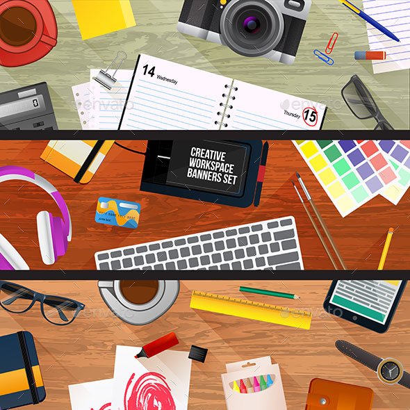 Set of Flat Design Concepts for Business and Creative Workspace - Concepts Business