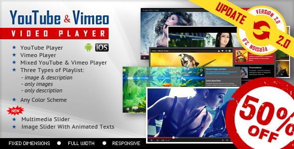 YouTube And Vimeo Video Player with Playlist - CodeCanyon Item for Sale