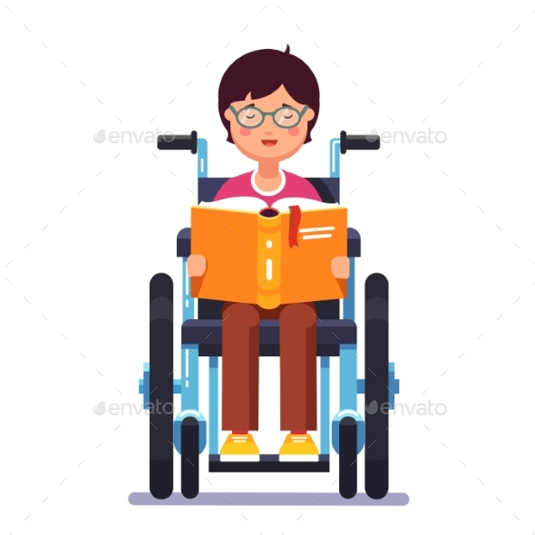 Disabled Boy Sitting in a Wheelchair and Reading - People Characters