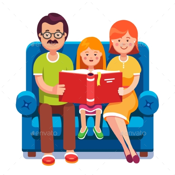 Mom, Dad and Daughter Reading Story Book Together - People Characters