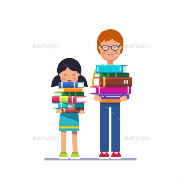 School and Preschool Kids Holding Piles of Books - People Characters