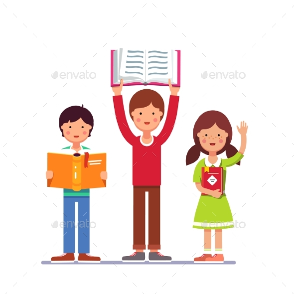School and Preschool Kids Holding Books in Hands - People Characters