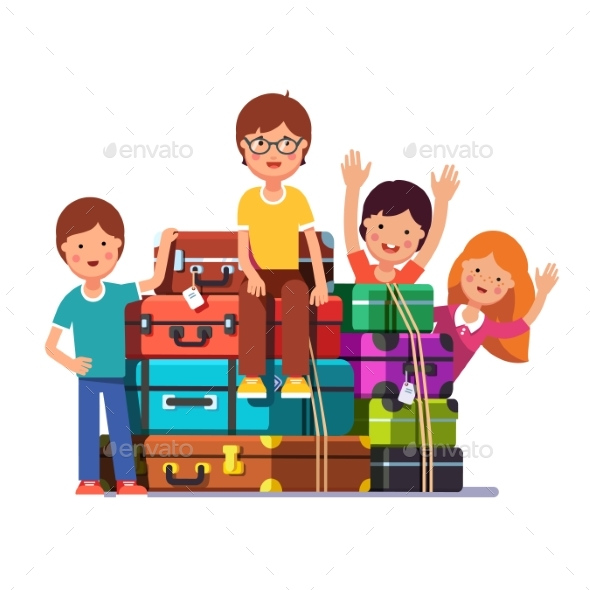 Boy and Girls Packed for Traveling - People Characters